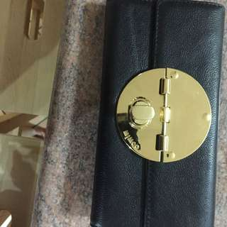 Mimco Turnlock Purse (black with gold hardwear)
