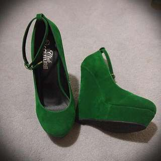 Green Suede Wedges