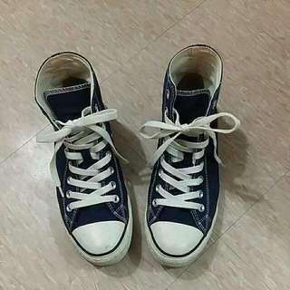 高统帆布休閒鞋(藏青)