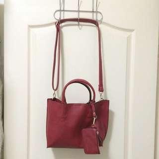 紅色荔枝皮兩用包中包