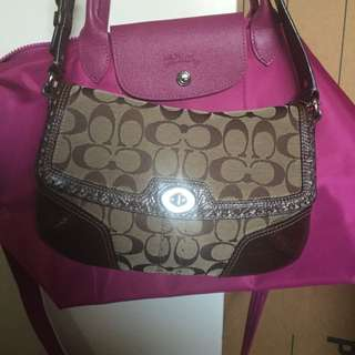 Authentic Coach Canvass With Leather Bag ( Reduced Price)
