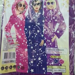 全開式雨衣-紫色星星