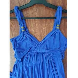 Grecian Long Summer Dress with Gold Detail