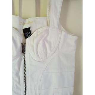 White Denim Bustier Zip-up Dress