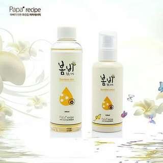【韓國papa recipe 春雨天然蜂蜜保濕水乳組合套組】售價一組$700(等於一瓶$350)