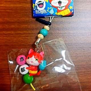 日本帶回-京都限定-吉胖貓手機吊飾-三色糰子