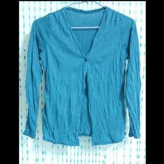 藍綠 V領 皺摺 薄外套 防曬外套