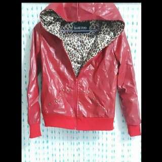紅 豹紋 鉚釘 仿皮 連帽 外套