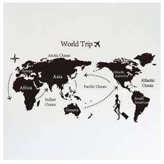 世界地圖-時尚仕女壁貼(不含運費