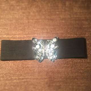 Black And Silver Sparkly Waist Belt