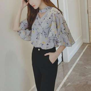 Floral grey blouse