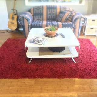 SOLD PENDING Red Shag Pile Rug