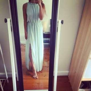 Summer Maxi Silk Dress In Tiffany
