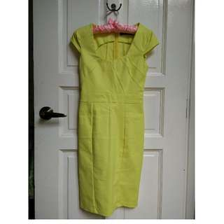 Lemon Yellow Midi Dress XS