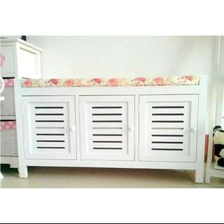 (NEGOTIABLE) 3 Doors Shoe Cabinet With Seat