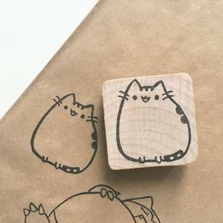Cute Pusheen The Cat Stamp Handmade Hand Carved In Singapore