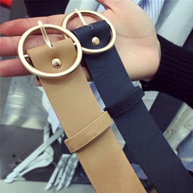 韓版復古金屬圓扣皮帶-2色