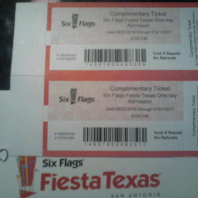 2 Complementary Six Flags Tickets