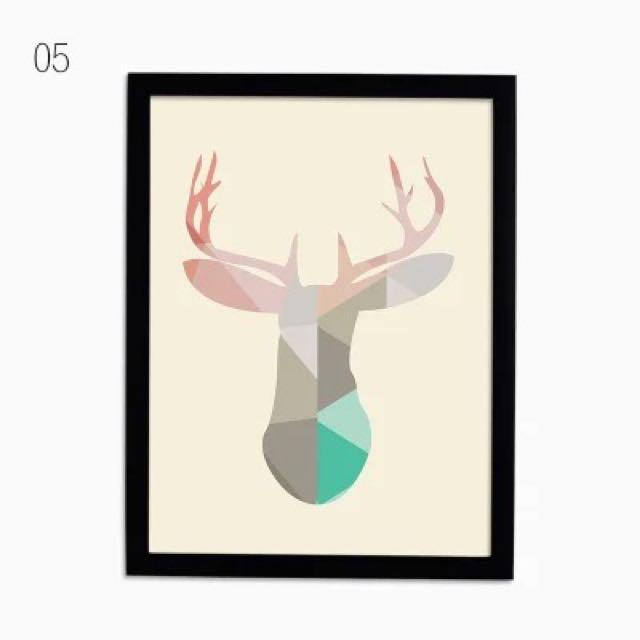 文藝風動物馴鹿 簡約氣質 壁畫