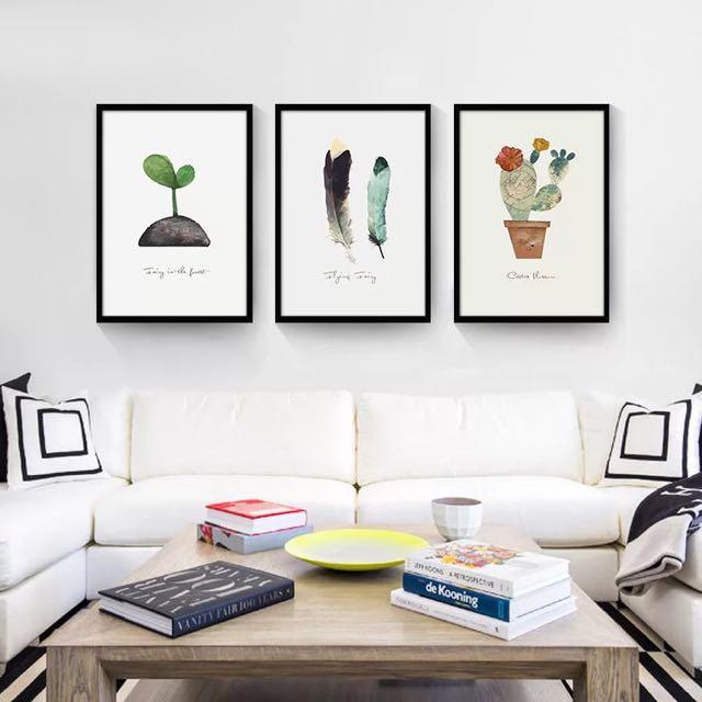 咖啡廳慵懶風 簡約氣氛 白框黑框 壁畫