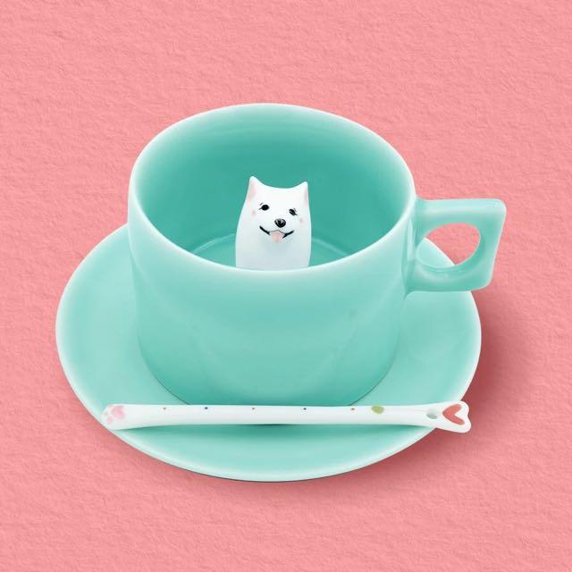 純手工繪製 釉下彩 高溫燒製 逗趣小白陪你喝咖啡 一組