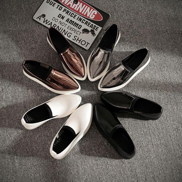 秋季新款 坡跟厚底鬆糕鞋 平底休閒鞋 尖頭單鞋 厚底鞋 潮  X-12562#