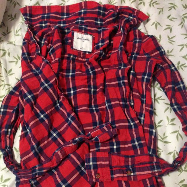 Abercrombie Red Plaid Long Sleeve Shirt