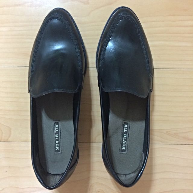 (預定)【All Black】真皮黑色氣質皮鞋 – 正品