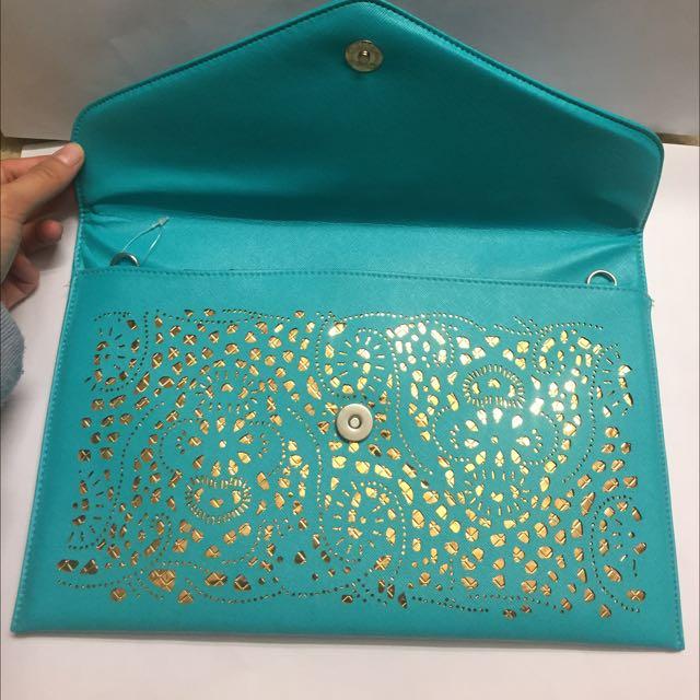 Aqua Envelope Clutch Bag
