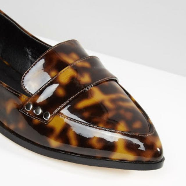 ASOS Tortoise Loafers Flats Shoes 37 Or 7 NWOT