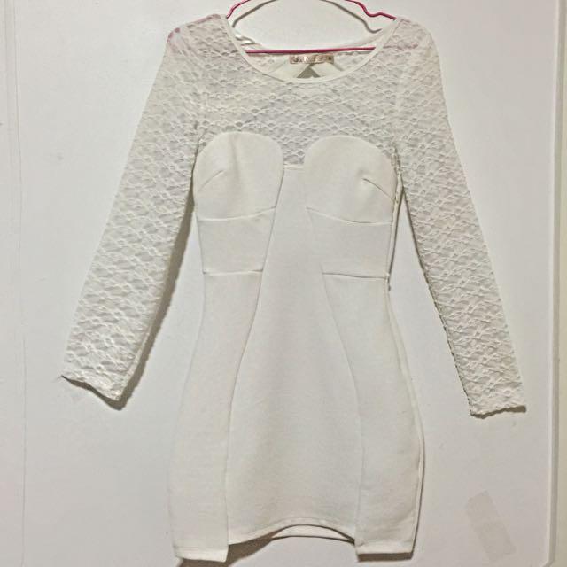 Backless Bandage Dress In White Size 8
