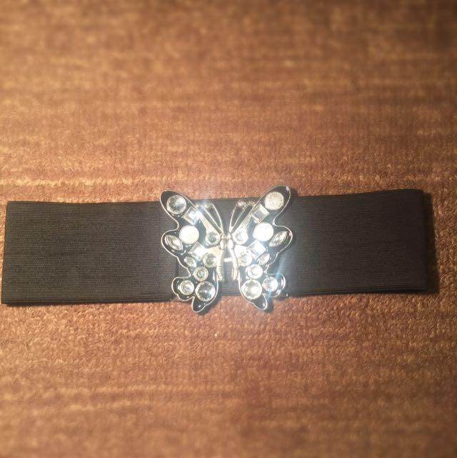 Black And Silver Sparkly Waist Belt