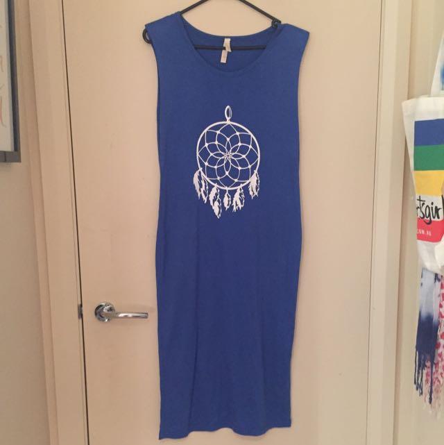 Casual Blue Dream Catcher Maxi Dress