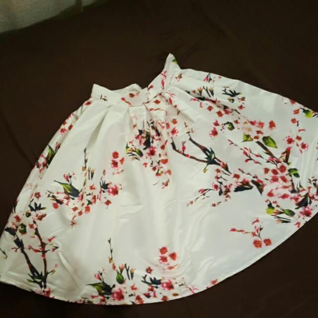Cherry Blossom Print Midi Skirt XS