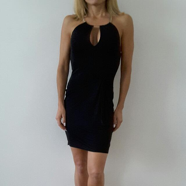 Forever New Little Black Dress With Gold Necklace Built In Dress. Brand New Size 6