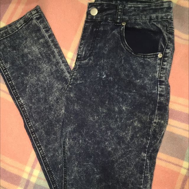 High waisted skinny acid wash jeans