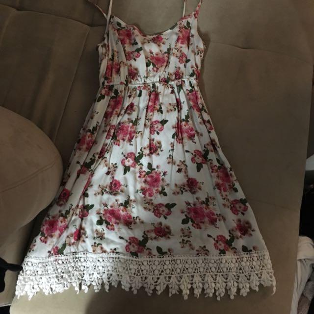 Lace Bottom Flower Dress