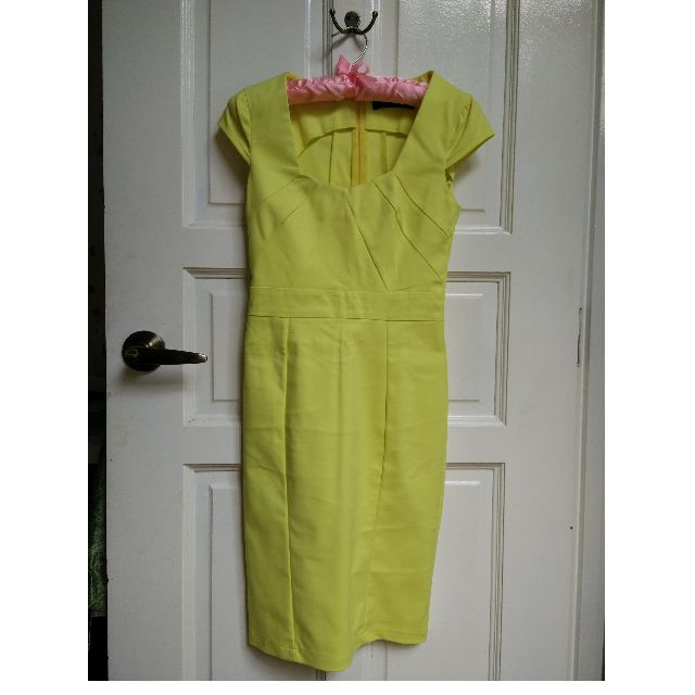 Lemon Yellow Midi Dress XS