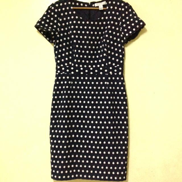 Navy Blue Polkadot Dress from F21