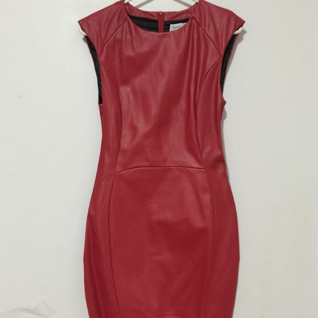 Red Faux Leather Bandage Dress Size 8