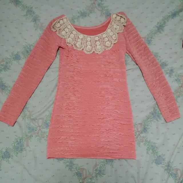 Salmon Colored Long Sleeved Body Con Dress