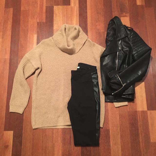 Sportsgirl Cost Knit Roll Neck Jumper XS/S Carmel Colour