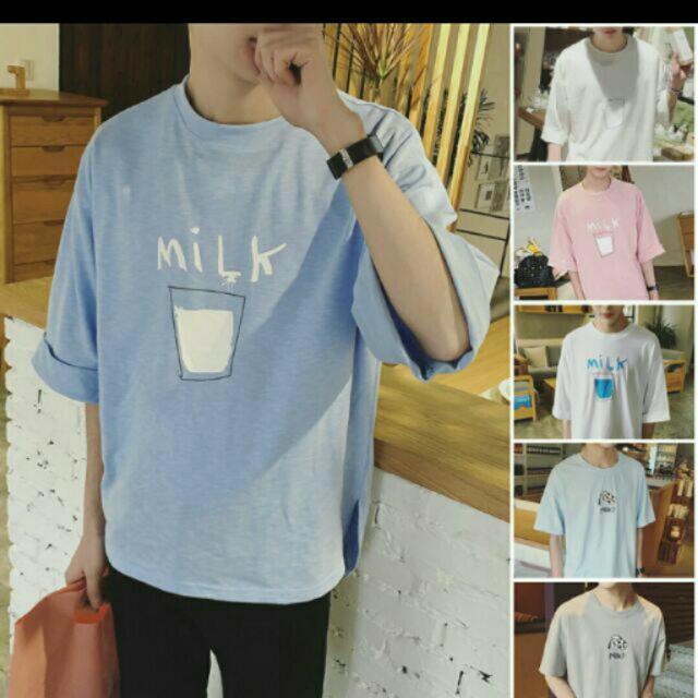 男孩最愛韓版寬鬆牛奶T