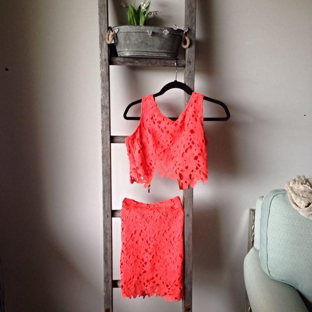 Two Piece Orange Lace