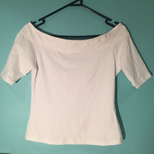 White Off The Shoulder Tee