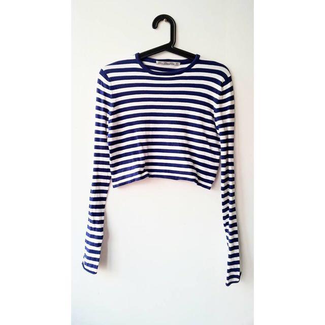 《換物》Zara 海軍風條紋針織上衣藍白條紋短版上衣