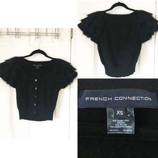 French Connection Cropped Black Augora Cardigan