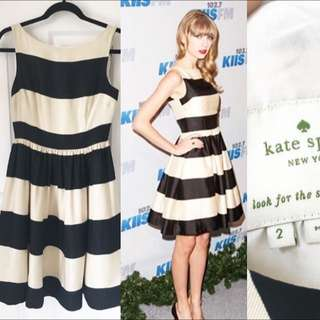 Kate Spade Carolyn Black And White Strip Dress