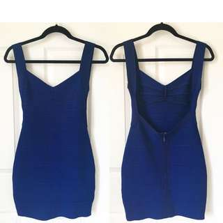Royal Blue Backless Bandage Dress