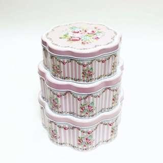 花瓣型鐵盒 禮物盒 馬口鐵 收納盒(三個一組)